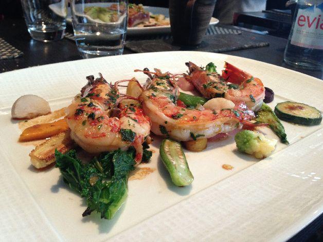 gambas et légumes